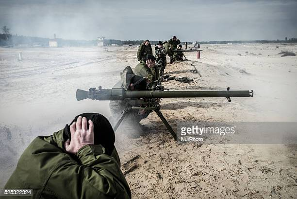 Cadets shoot a SPG recoilless gun during firing training with SPG recoilless guns and Kalashnikov guns at the 169th Training center of Ukrainian...