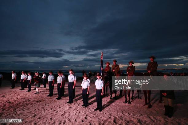 Cadets take part in the ANZAC dawn service on April 25 2018 in Currumbin Australia Australians commemorating 104 years since the Australian and New...