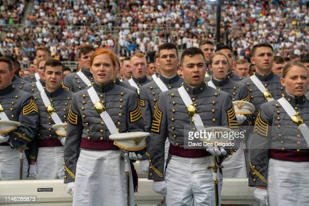 Cadets take the commissioning oath at the U.S. Military Academy Class of 2019 graduation ceremony at Michie Stadium on May 25, 2019 in West Point,...
