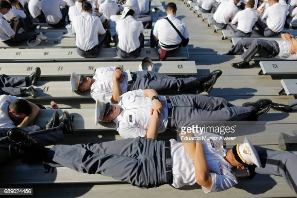 Cadets wait for the start of the U.S. Military Academy Class of 2017 graduation ceremony at Michie Stadium on May 27, 2017 in West Point, New York....