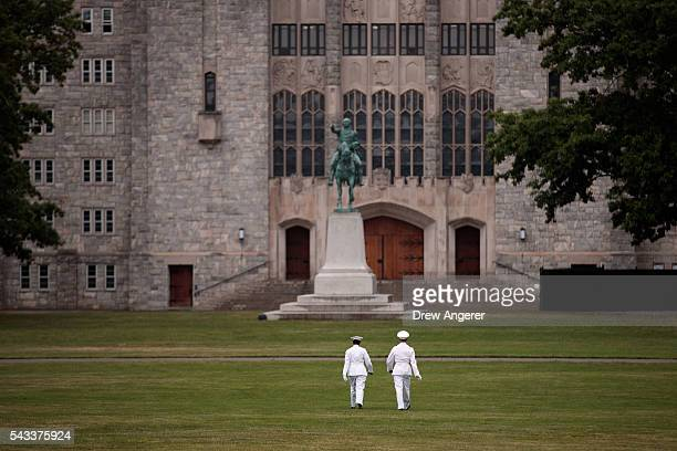 Cadets walk across 'The Plain' before the Oath of Allegiance ceremony during Reception Day at the United States Military Academy at West Point June...