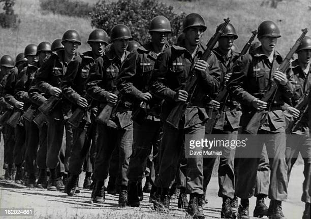 AUG 12 1967 AUG 13 1967 Cadets who will be formally accepted into wing at air force academy Friday Sing Out as they March in formation
