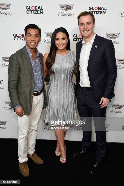 Cadillac Associate Director Brand Partnerships and Experiences Nathan Tan Demi Lovato and CoFounder and CEO of Global Citizen and Global Poverty...