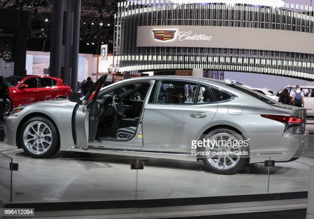 Cadillac automobile on display at the 2017 New York International Auto Show at Jacob K Javits Convention Center, New York City, New York, April 12,...