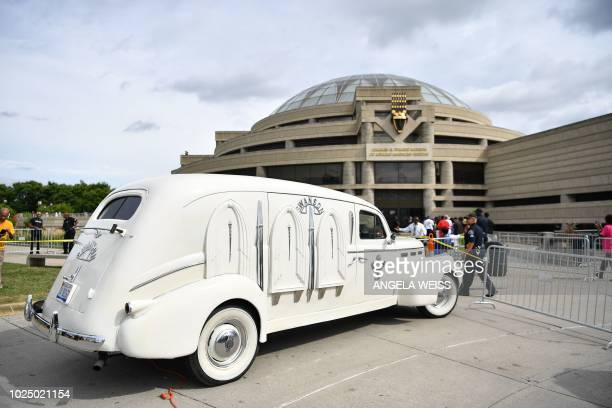Cadillac LaSalle hearse that carried Aretha Franklin's body is parked at the Charles H Wright Museum of African American History on August 29 2018 in...