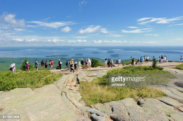 cadillac mountain in acadia national park - bar harbor stock photos and pictures