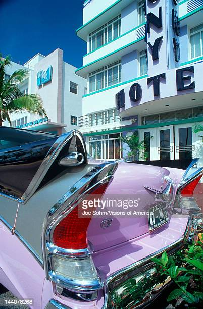 Cadillac Parked Outside the Colony Hotel in South Beach Florida