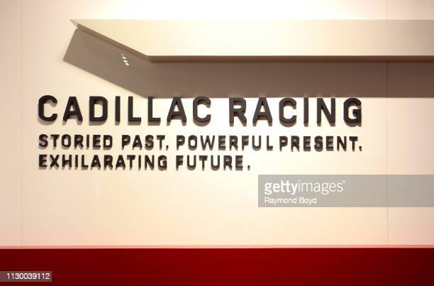 Cadillac Racing signage is on display at the 111th Annual Chicago Auto Show at McCormick Place in Chicago, Illinois on February 7, 2019.