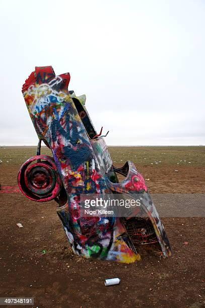 Cadillac Ranch Artistic Roadside attraction along Route 66 Amarillo Texas USA