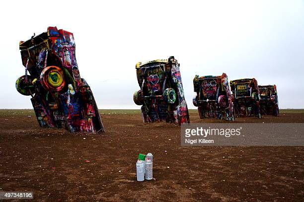 Cadillac Ranch Buried cars to be spray painted by passers by Amarillo Route 66 Texas