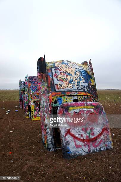 Cadillac Ranch Quirky roadside attraction along Route 66 Amarillo Texas USA