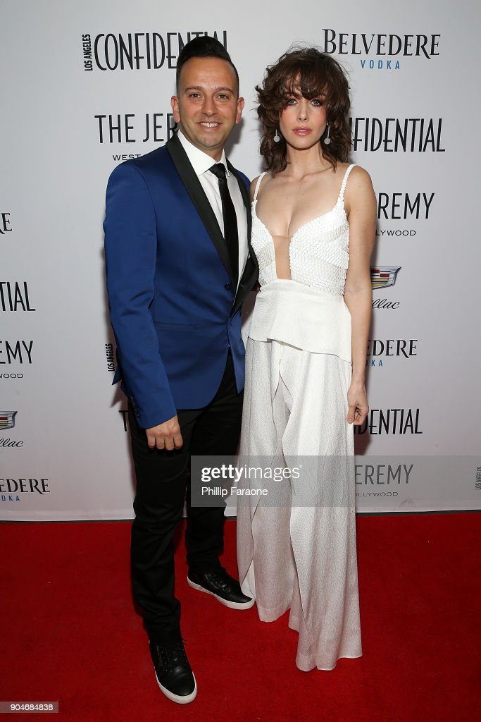 Cadillac Regional Director US Western Region Mahmoud Samara and Alison Brie attend the Los Angeles Confidential, Alison Brie and Cadillac celebrate annual Awards Event with Belvedere Vodka at The Jeremy West Hollywood on January 13, 2018 in Los Angeles, California.