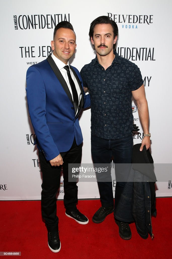 Cadillac Regional Director US Western Region Mahmoud Samara and Milo Ventimiglia attend the Los Angeles Confidential, Alison Brie and Cadillac celebrate annual Awards Event with Belvedere Vodka at The Jeremy West Hollywood on January 13, 2018 in Los Angeles, California.