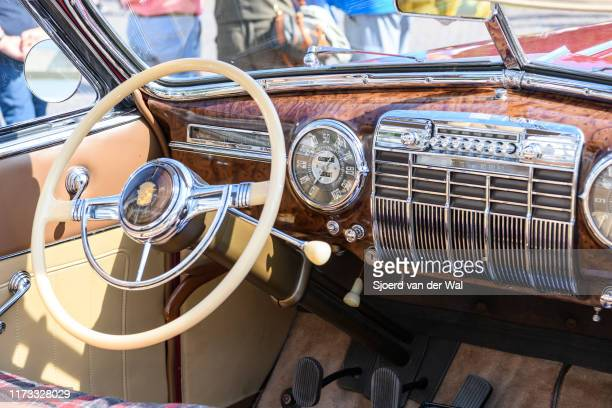 Cadillac Series 62 Convertible 1940s classic car dashboard on display at the 2019 Concours d'Elegance at palace Soestdijk on August 25, 2019 in...