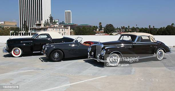 A 1941 Cadillac Series 62 Coupe a 1949 Jaguar XK 120 and a 1957 Mercedes Benz 300Sc Cabriolet once owned by actor Clark Gable are showcased at the...