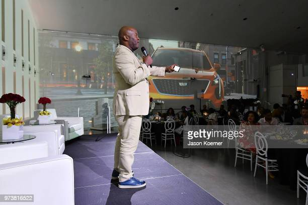 Cadillac Sr Manager Multiculural Media Raymond Warren speaks on stage at Cadillac Welcome Luncheon At ABFF Black Hollywood Now at The Temple House on...