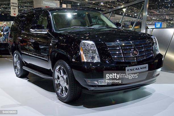 Cadillac's new car Escalade is shown on the first day of the media preview for the Geneva International Motor Show at the Palexpo conference center...