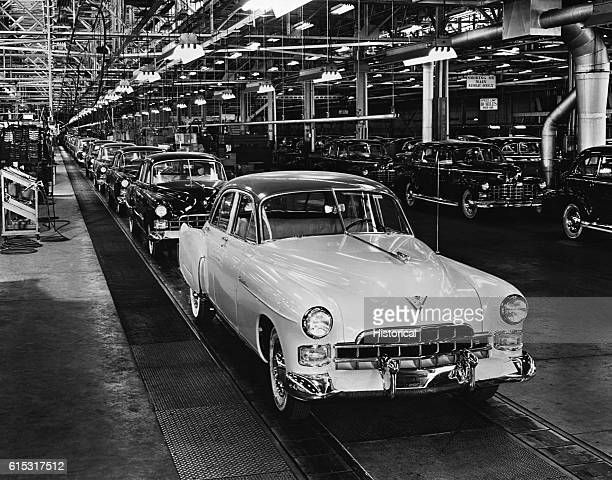 Cadillacs Rolling off Assembly Line