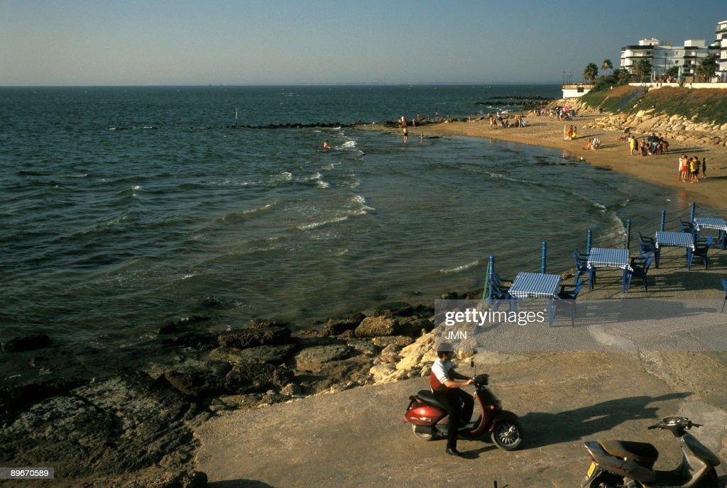 Cadiz. Chipiona. The beach from the ligthouse. : News Photo