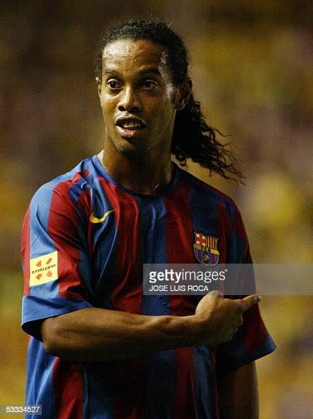 Barcelonas player Ronaldinho reacts during the final of the Carranza trophy against Cadiz CF at Ramon de Carranza Stadium in Cadiz 6 August 2005 AFP...