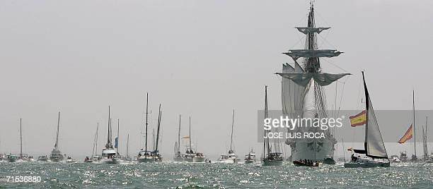 Spanish ship Juan Sebastian Elcano leaves the port of Cadiz southern Spain 29 July 2006 during the 50th edition of the Tall Ships Race Some 80...