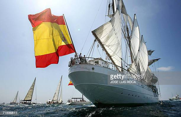 Spanish tall ship Juan Sebastian Elcano leaves the port of Cadiz southern Spain 29 July 2006 during the 50th edition of the Tall Ships Race Some 80...