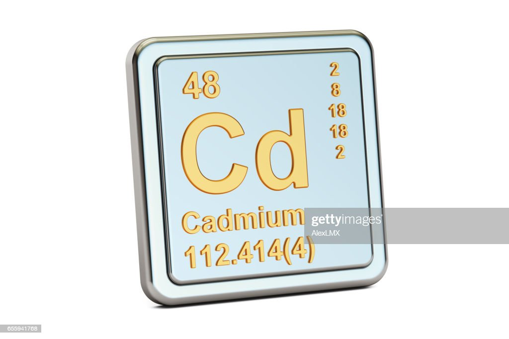 Cadmium Cd Chemical Element Sign 3d Rendering Isolated On White