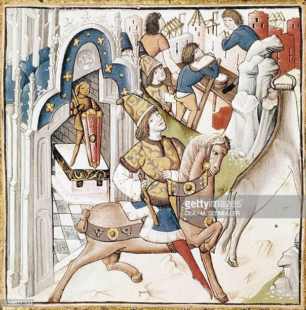 Cadmus the mythical king of Thebes miniature from 14th century edition of De Casibus Virorum Illustrium by Giovanni Boccaccio Carpentras Bibliothèque...