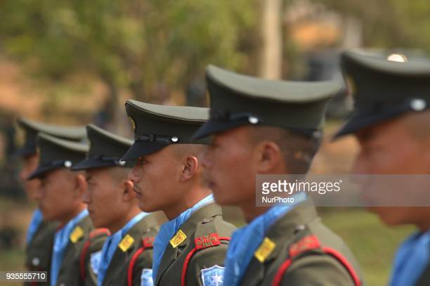 Cadres of National Socialist Council of Nagaland Isak Muivah stand in formation during the 39th Naga republic day celebration at the Council...