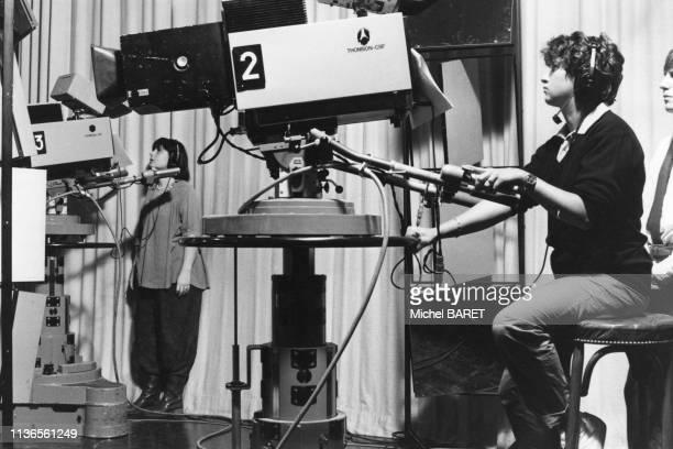 Cadreuse dans un studio de télévision d''Antenne 2' France