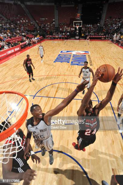 Cady Lalanne of the San Antonio Spurs blocks the shot against DeAndre Daniels of the Portland Trail Blazers during the Quarterfinals of the 2017...