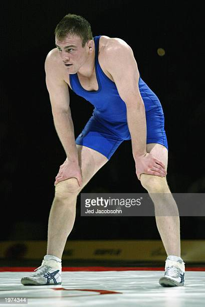 Cael Sanderson of the USA waits during his match against Yoel Romero of Cuba during the wrestling portion of the Titan Games at the Events Center at...