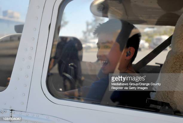 Cael Studebaker is all smiles as he gets set to take a flight in Long Beach CA on Thursday July 10 2014 This is the 13th year that Miller Children's...