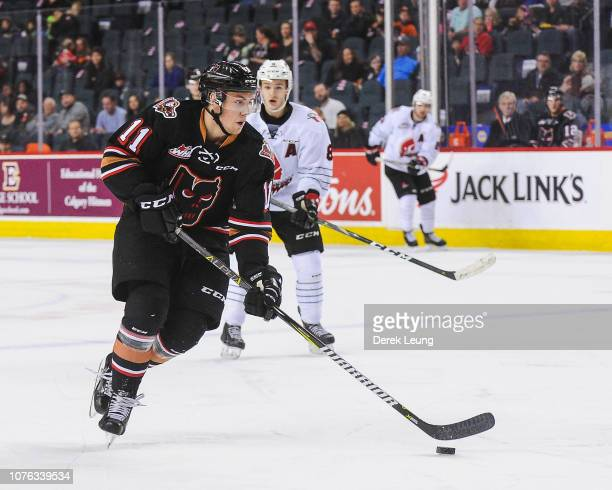 Cael Zimmerman of the Calgary Hitmen in action against the Moose Jaw Warriors during a WHL game at the Scotiabank Saddledome on December 2, 2018 in...