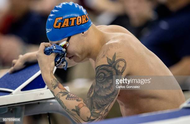 Caeleb Dressel of Florida prepared himself before the 100 yard freestyle during the Division I Men's Swimming Diving Championship held at the...