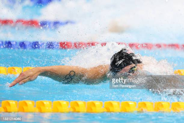 Caeleb Dressel of Team United States competes in the Men's 100m Freestyle Final on day six of the Tokyo 2020 Olympic Games at Tokyo Aquatics Centre...