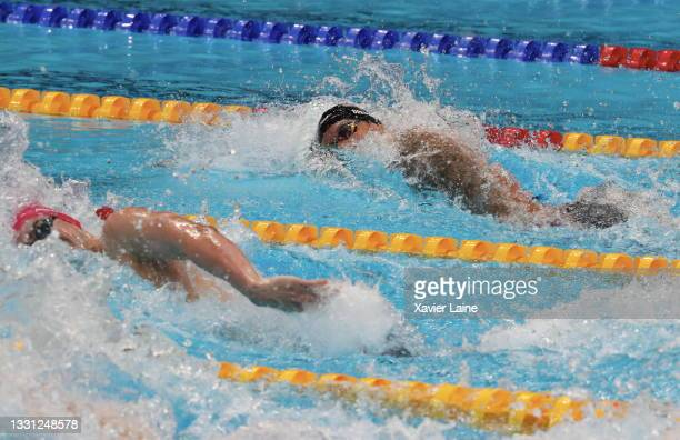 Caeleb Dressel of team United States in action during the men's 100m freestyle final on day six of the Tokyo 2020 Olympic Games at Tokyo Aquatics...