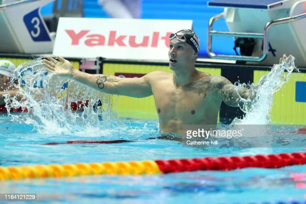 Caeleb Dressel of the United States celebrates after winning the Men's 100m Freestyle Final on day five of the Gwangju 2019 FINA World Championships...