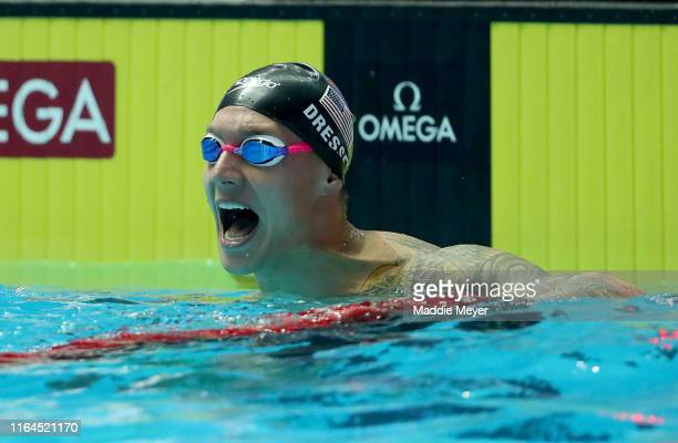 Caeleb Dressel of the United States celebrates after winning the Men's 100m Butterfly Final on day seven of the Gwangju 2019 FINA World Championships...