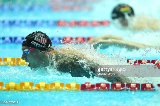 Caeleb Dressel of the United States competes in the Men's 100m Butterfly Final on day seven of the Gwangju 2019 FINA World Championships at Nambu...