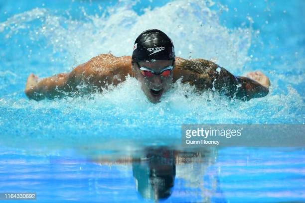 Caeleb Dressel of the United States competes in the Men's 100m Butterfly Semifinal on day six of the Gwangju 2019 FINA World Championships at Nambu...