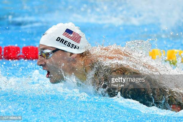 Caeleb Dressel of the United States competes Men's 100m Butterfly during 14th FINA World Swimming Championships Day 2 on December 12 2018 in Hangzhou...