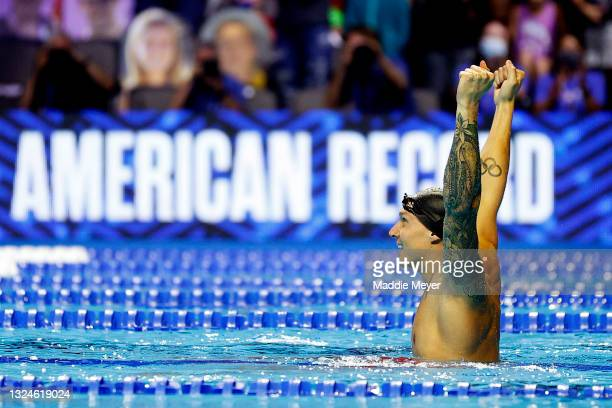 Caeleb Dressel of the United States reacts after setting an American Record in the Men's 50m freestyle final during Day Eight of the 2021 U.S....