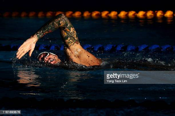 Caeleb Dressel swims during a training session at the OCBC Aquatic Centre on July 13 2019 in Singapore