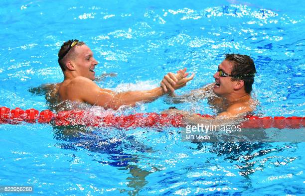 Caeleb Remel Dressel Nathan Adrian during the Budapest 2017 FINA World Championships on July 27 2017 in Budapest Hungary