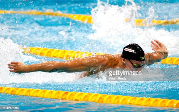 Caeleb Remel Dressel of the United States competes during the Men's 100m Butterfly final on day sixteen of the Budapest 2017 FINA World Championships...