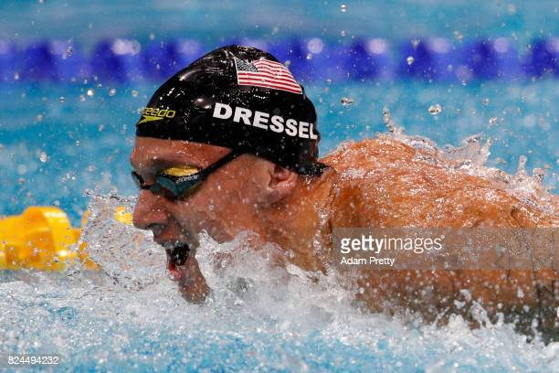 Caeleb Remel Dressel of The United States competes during the Men's 4x100m Medley Relay Final on day seventeen of the Budapest 2017 FINA World...
