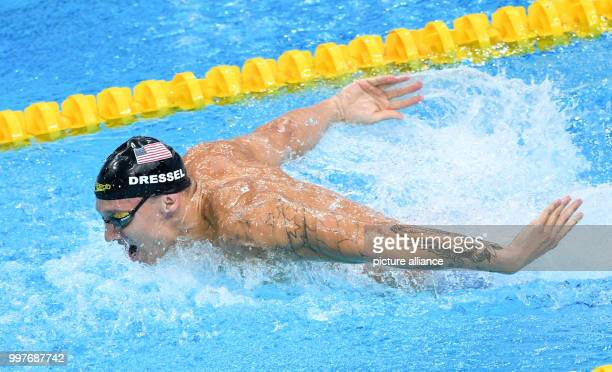 Caeleb Remel Dressel of the USA swimming in the men's 4x100m Medley Relay final at the FINA World Championships 2017 in Budapest, Hungary, 30 July...