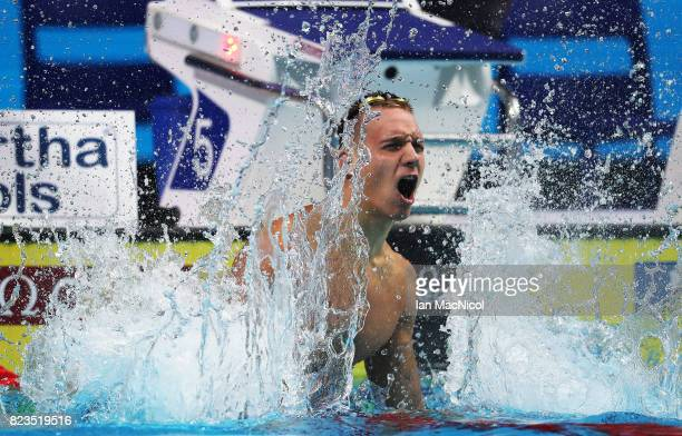 Caeleb Remel Dressel of United States celebrates after he wins the Men's 100m Freestyle final on day fourteen of the FINA World Championships at the...
