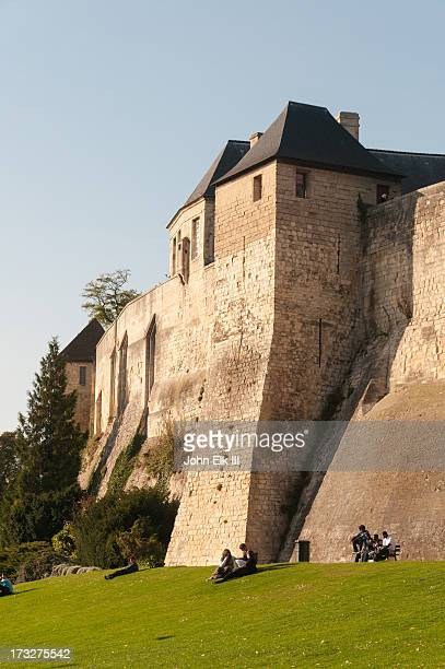 caen chateau, ramparts and bastions - calvados stock pictures, royalty-free photos & images